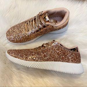 BOUTIQUE NWOT Rose Gold Glitter Sneaker Shoes 7.5